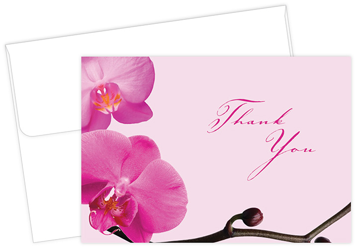 Pink Orchids Thank You Notecard 24CT