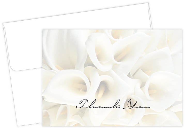 White Calla Lilies Thank You Notecard 50CT