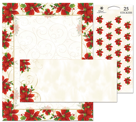 Poinsettia Swirl Stationery Kit 25CT