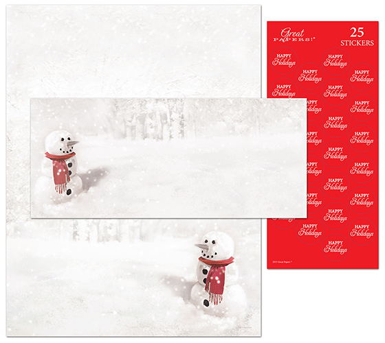 Snowmn In Red Scarf Stationery Kit 25CT