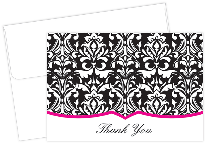 Classic Damask With Fuchsia Thank You