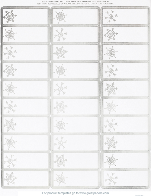 Silver Snowflakes Foil Address Label 120CT
