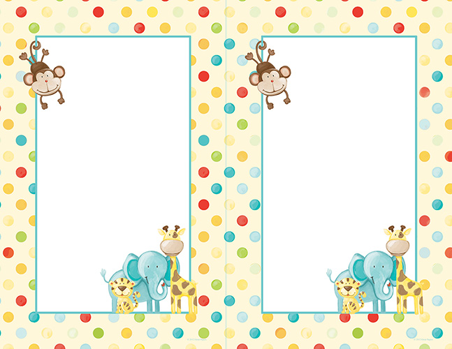 Baby Zoo Animals 2-Up Invite