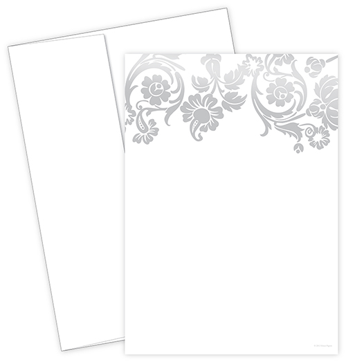 Silver Damask Foil Invite 10CT
