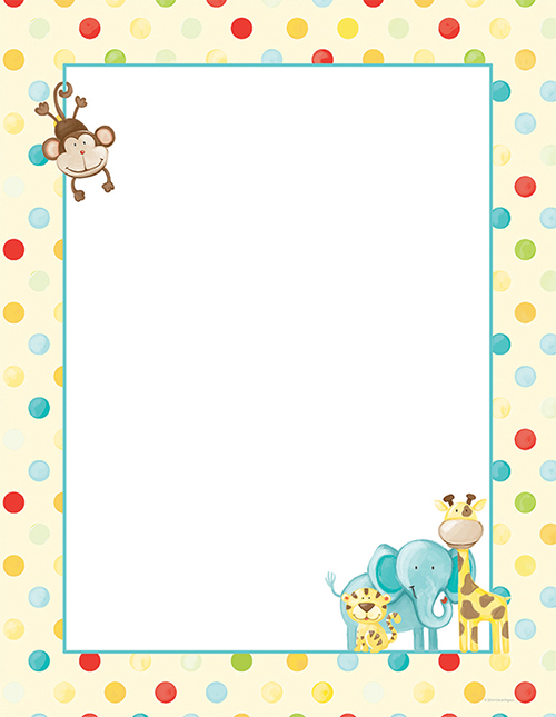 Baby Zoo Animals Letterhead 80CT