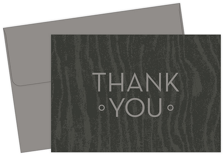 Grey Woodgrain Thank You Notecard 10CT