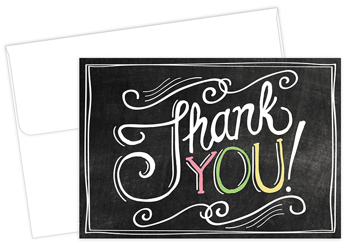 Chalkboard Thank You Notecard 24CT