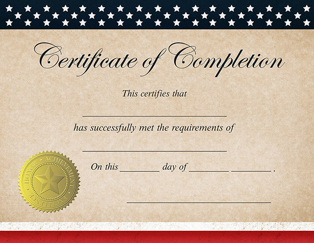 Patriotic Completion Certificate 25CT