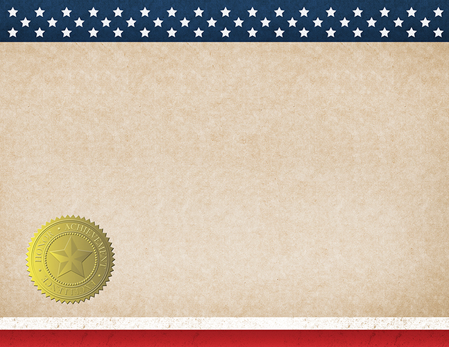 Patriotic Completion (Blank) Certificate