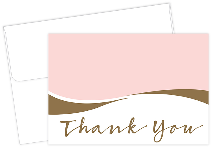 Pink Caress Thank You Note card 50CT