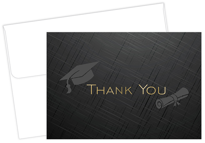 Gold Grad Hat Foil Thank You Notecard 50CT