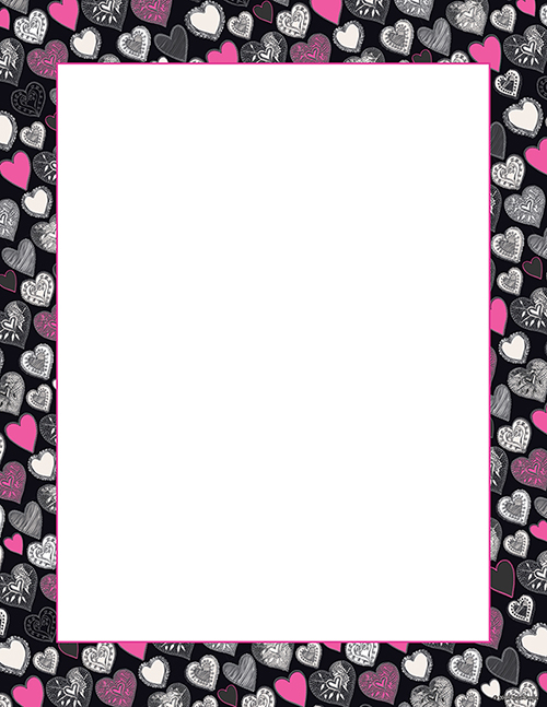 Pink   Black Hearts Letterhead 80CT