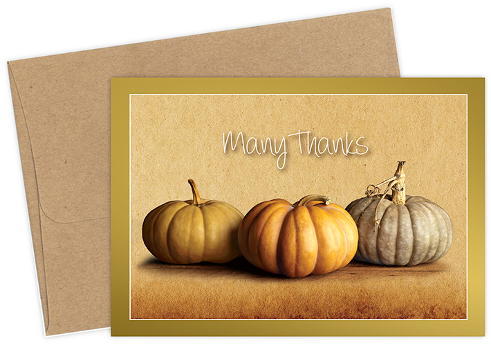 Fall Pumpkins Foil Thank You Notecard 50CT
