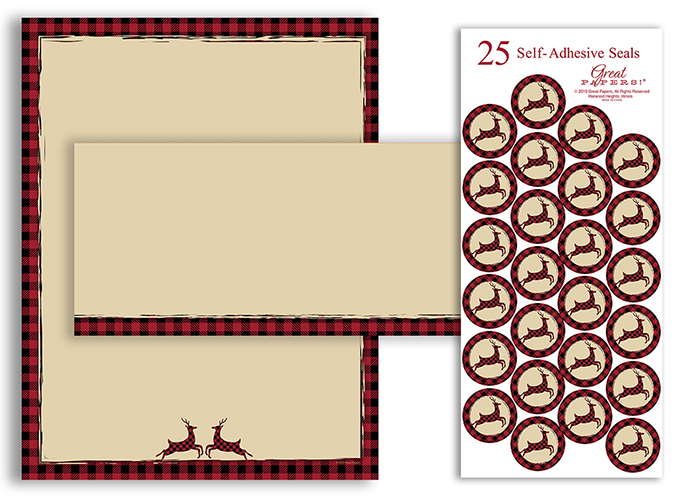 Plaid Reindeer Stationery Kit 25CT