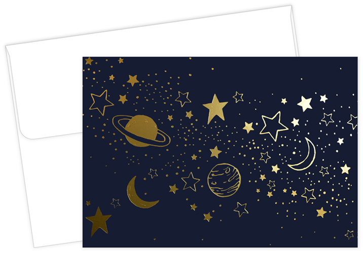 Cosmic Night Gold Foil Stars and Planets Thank You Notecard 50CT