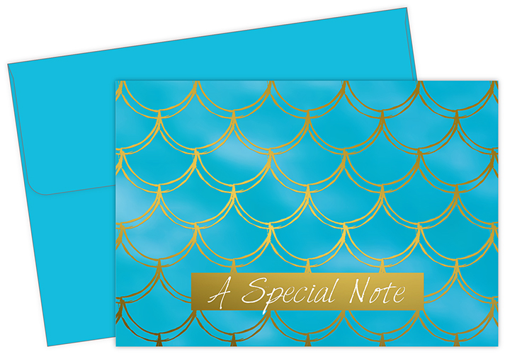 Mermaid Gold Foil Thank You Notecard 50CT