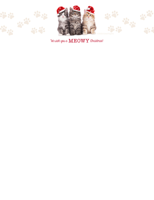 Christmas Cats Holiday Letterhead 80CT
