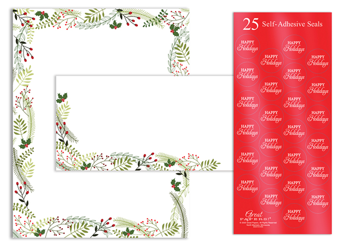 Merry Twigs  Holly Stationery Kit 25 CT