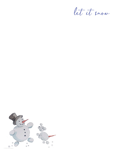 Snow Friends Hand Illustrated Holiday Letterhead 80CT
