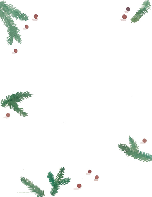 Pine And Berries  Holiday Letterhead 80 CT