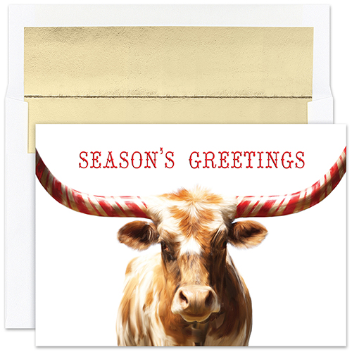 Peppermint Longhorn Holiday Card 18CT