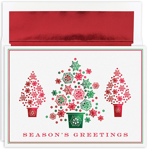 Snowflake Tree Trio Holiday Card 16CT