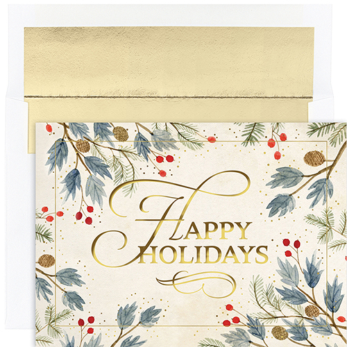 Watercolor Holly Holiday Cards 18