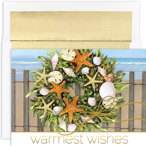 Warm Wishes Wreath Holiday Cards 18CT