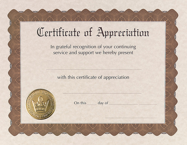 Appreciation Stock Certificate 6CT