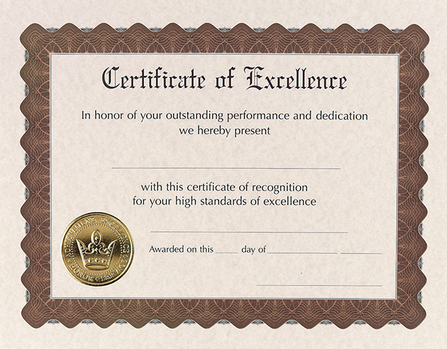 Excellence Stock Certificate