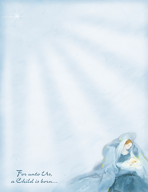 Mary With Baby Jesus Letterhead 80CT