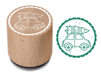 Woodies Stamp Car With Christmas Tre