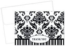 Black & White Damask Thank You 50CT