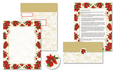 Poinsettia Swirl Self Mailer 50CT