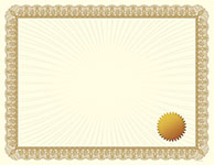 Metallic Gold Value Certificate with Seals
