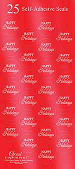 Red Happy Holidays Seals 25CT
