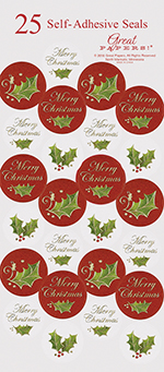 Christmas Holly Foil Seals 25CT