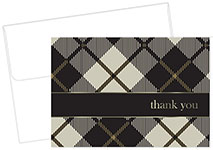 Black Plaid Thank You Notecard 24CT