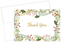 Merry Twigs Holly Gold Foil Thank You Notecard 50 CT