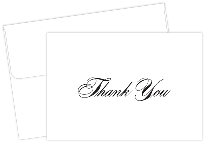 Black Thank You Note 24CT
