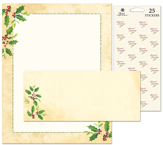 Falling Holly Stationery Kit 25CT