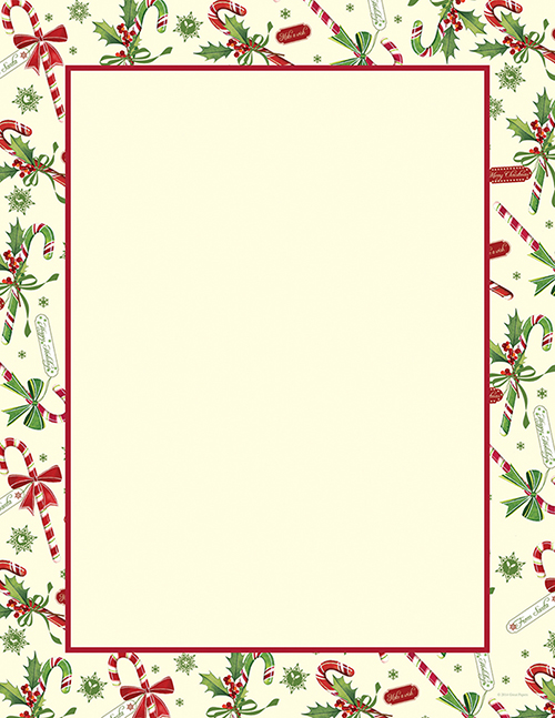 Candy Cane & Holly Letterhead 80CT