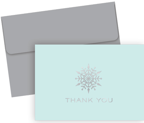 Petite Snowflake Foil Thank You 10CT