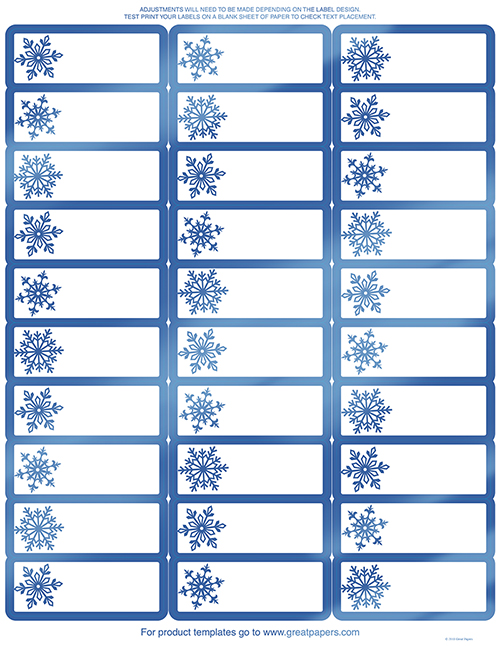 Blue Foil Snowflake Address Label 120CT