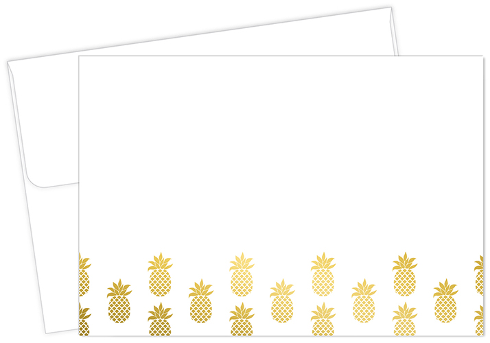 Golden Foil Pineapple Thank You Notecard 50CT