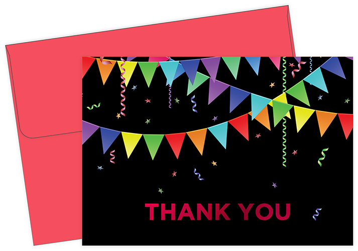 Rainbow Pennant Red Foil Thank You Notecard 50CT