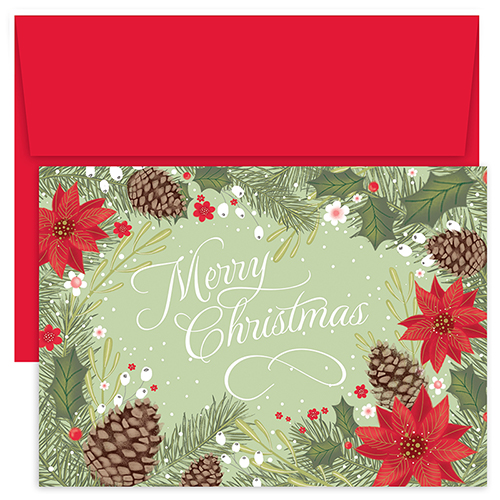 Poinsettia Pinecone Holiday Card 18CT