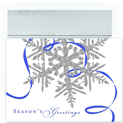 Silver Snowflakes Holiday Card 16CT