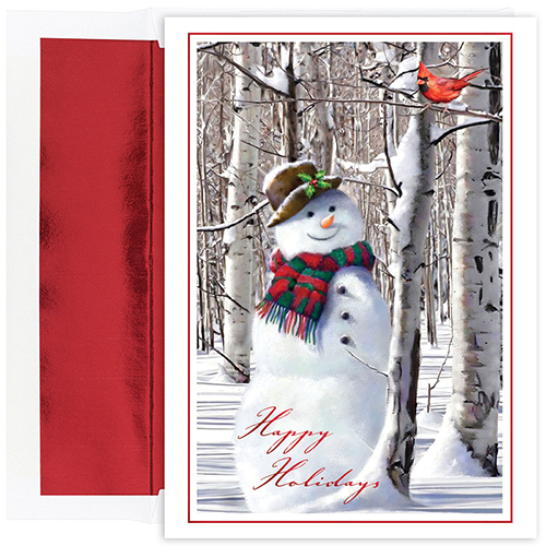 Snowman Cardinal Holiday Card 18CT