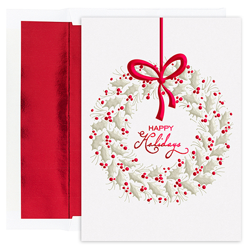 Hanging Berry Wreath Holiday Cards 16CT